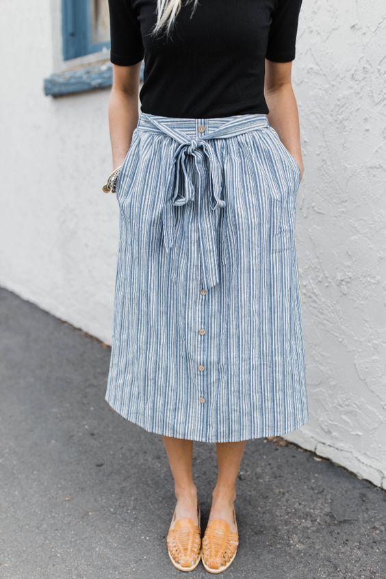 elastic waist skirt blue stripes
