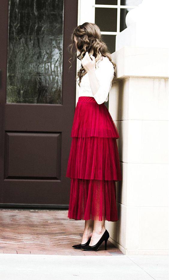 elastic waist skirt red ruffles