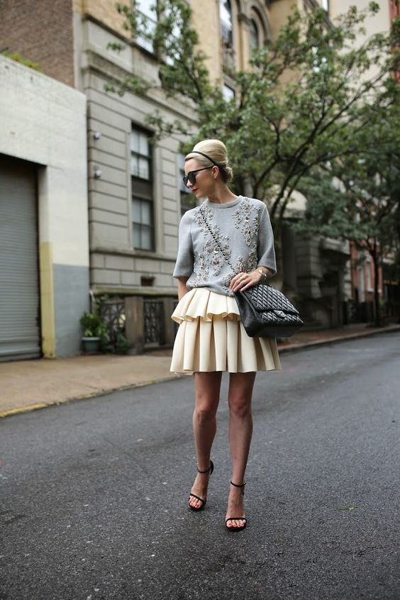 embellished top grey ruffle skirt