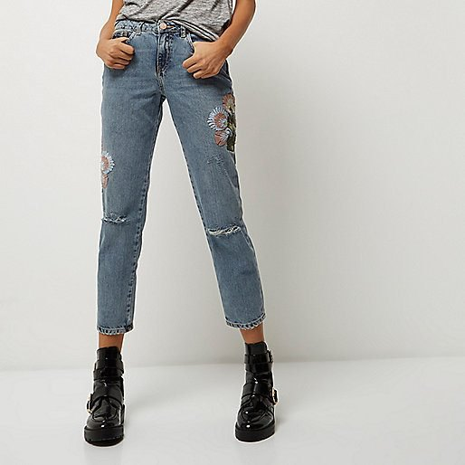 embroidered cigarette jeans leather ankle boots