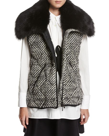 faux fur quilted tweed vest white blouse