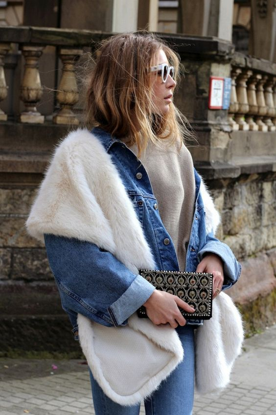 faux fur scarf denim on denim