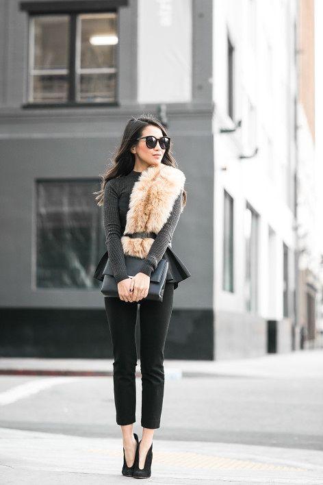 faux fur scarf peplum classic