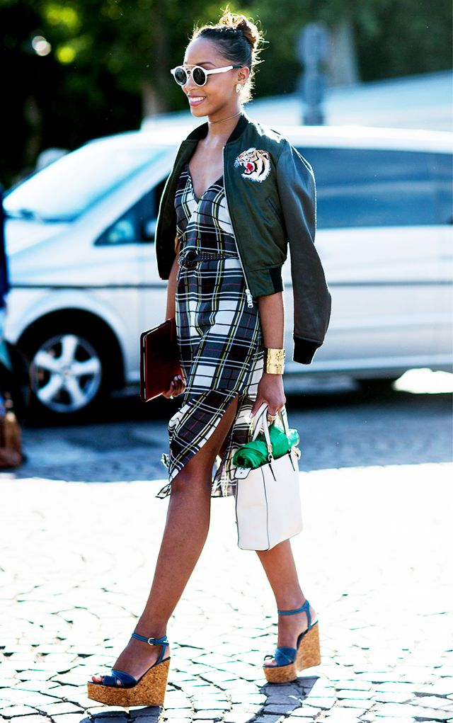 flannel dress bomber dress