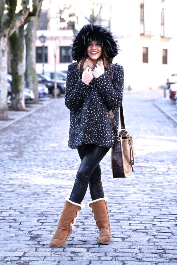 fur lined boots fluffy sweater