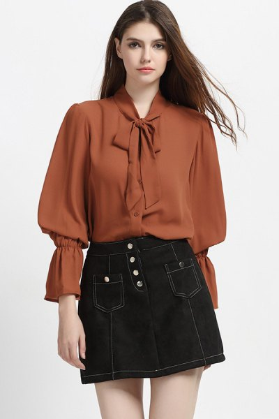 green ribbon bow puff sleeve blouse