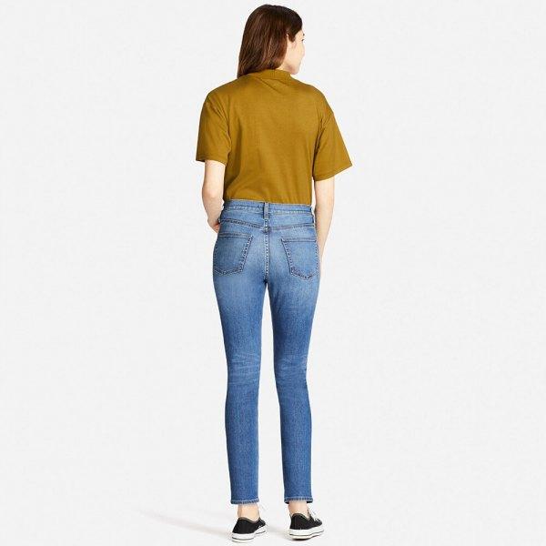 green tee light blue high waisted cigarette jeans