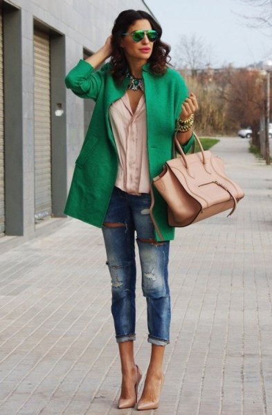 green wool coat jeans pink heels