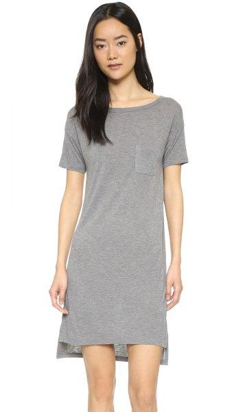 grey boat neck t shirt dress