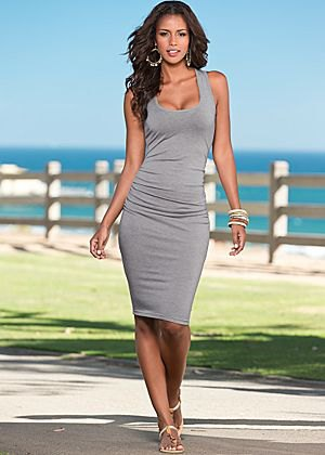 grey bodycon midi dress sandals