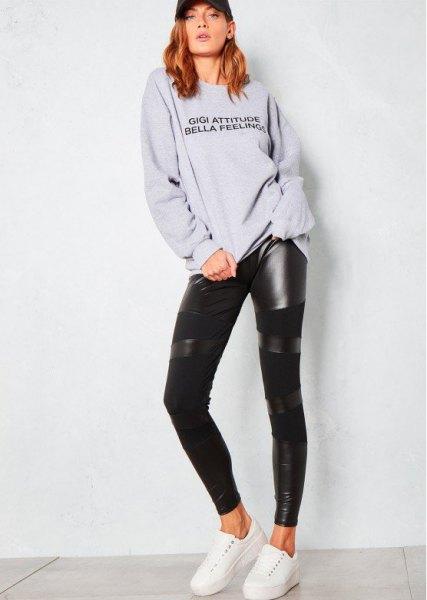 grey crew neck sweatshirt black leather leggings
