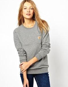 grey crew neck sweatshirt front pocket