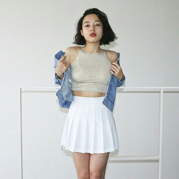 grey cropped halter top denim jacket