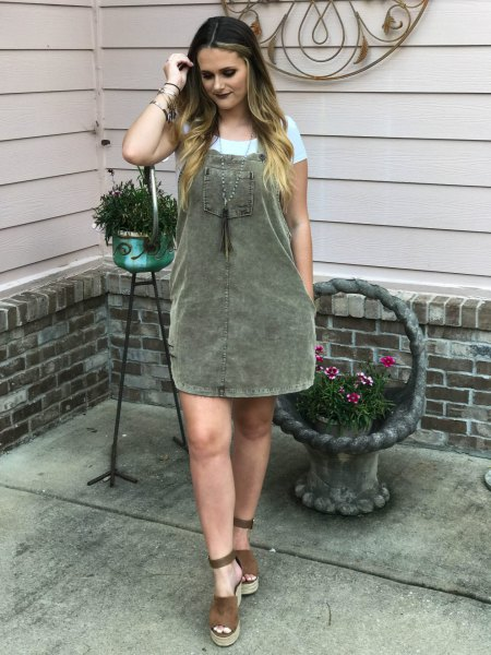 grey dress white t shirt