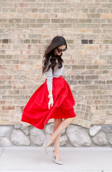 grey knit sweater red high waisted flare mini dress