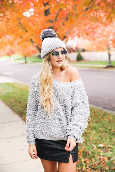 grey one shoulder chunky teddy sweater