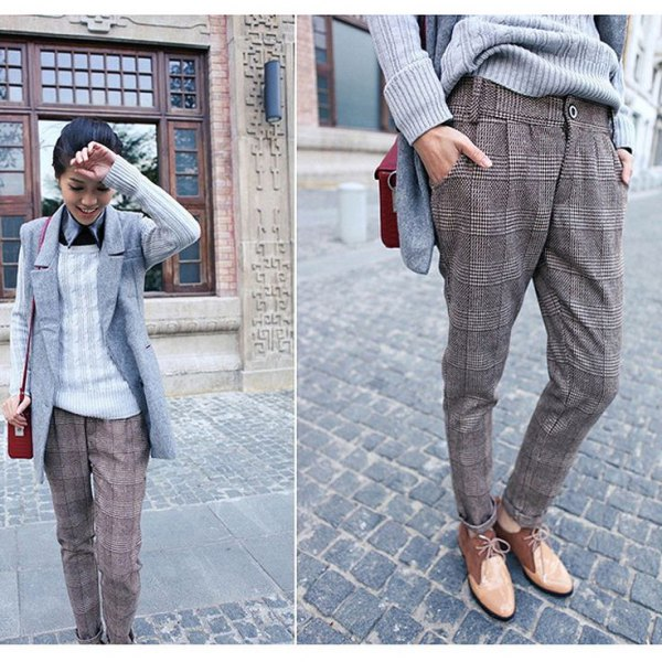 grey plaid tweed pants sleeveless blazer