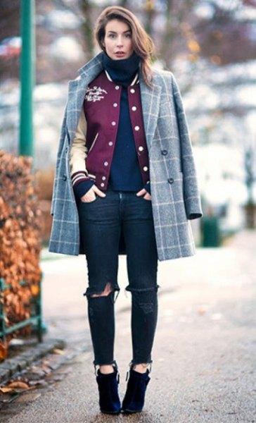 grey plaid wool coat over baseball jacket