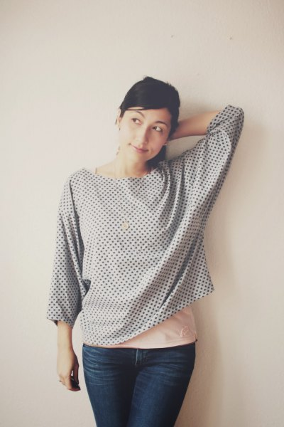grey polka dot buttonless batwing shirt