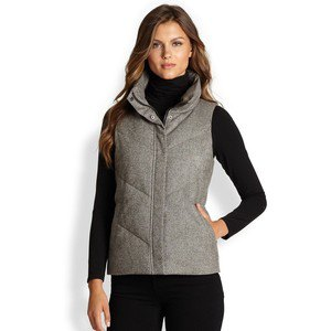 grey tweed puffer vest all black outfit