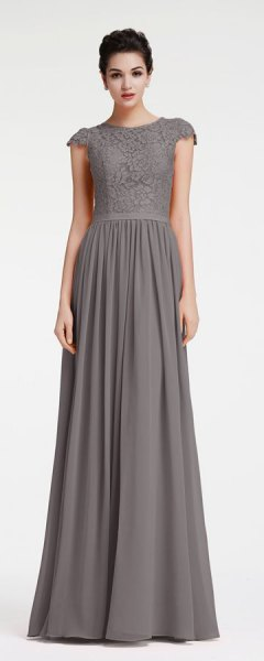 grey two toned lace chiffon maxi dress