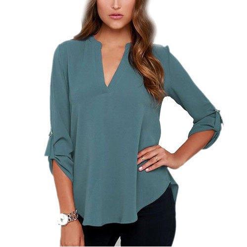 grey v neck buttonless rayon shirt