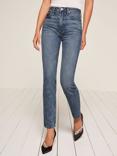high rise washed cigarette jeans