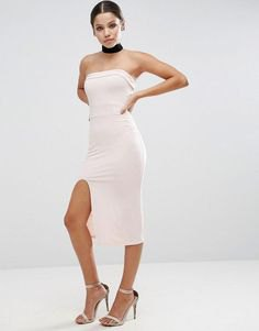 high split midi dress black choker