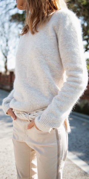 ivory crew neck knit sweater white jogging pants