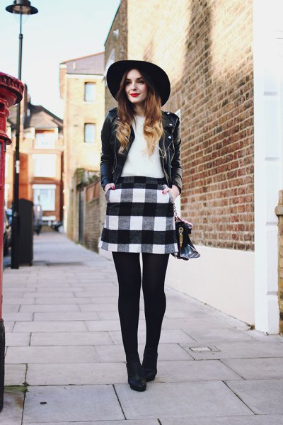 leather jacket felt hat outfit