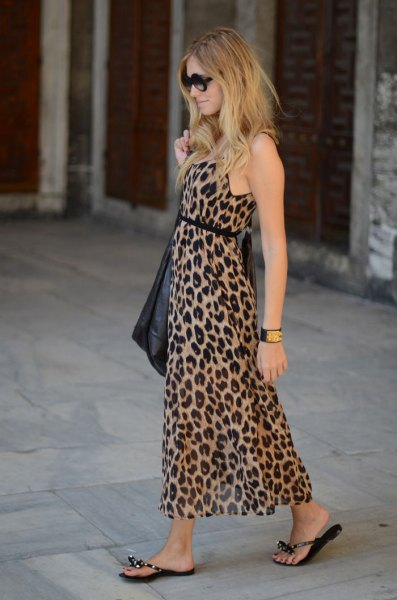 leopard print belted maxi sheath dress