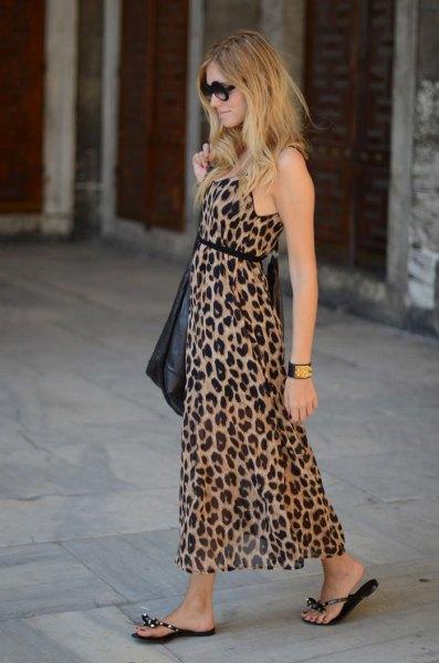 leopard print belted maxi sheath dress