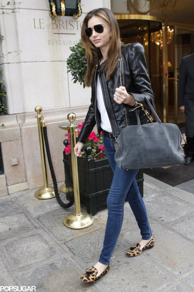 leopard print loafers black leather jacket white top