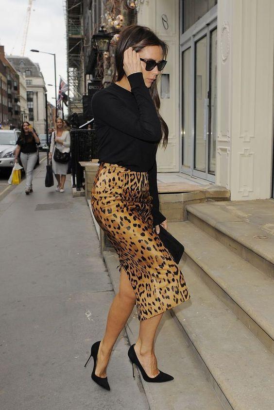 leopard print skirt victoria beckham