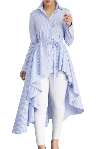 light blue belted button up peplum top