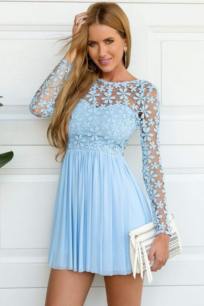 light blue sweetheart pleated mini dress floral mesh overlay