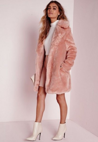long pink faux fur coat white mock neck sweater