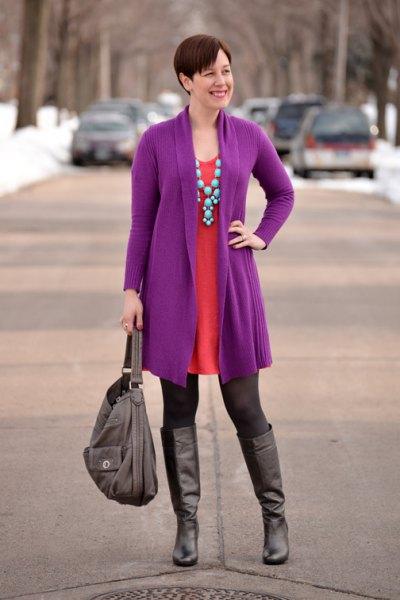long purple cardigan orange mini shift dress