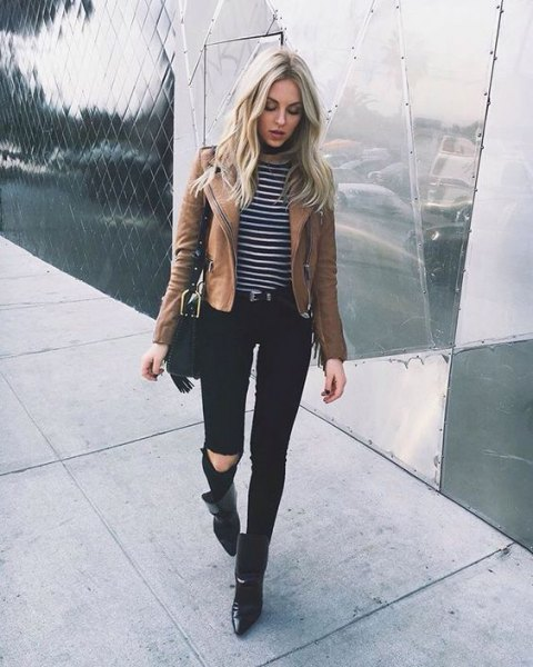 matte brown leather jacket striped tee black jeans