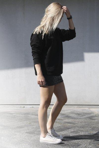 mini skirt black chunky knit sweater
