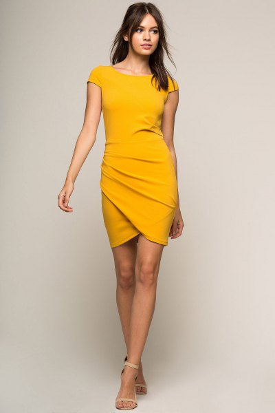 mustard yellow cap sleeve bodycon wrap dress
