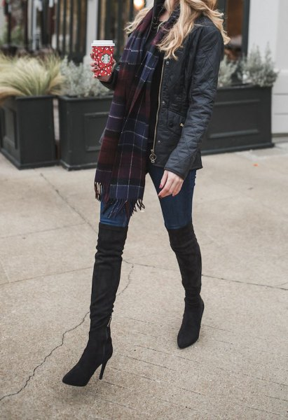 navy and black plaid wool scarf