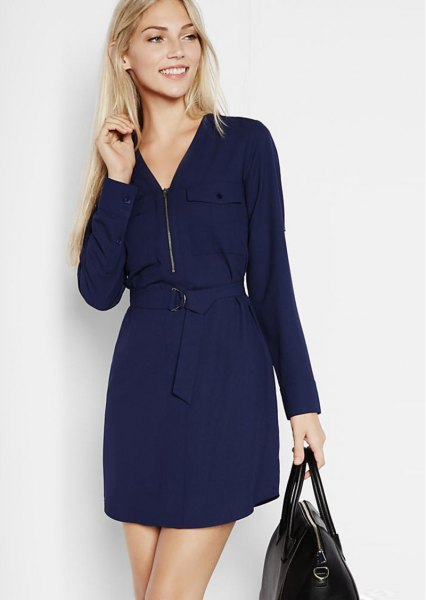 navy belted zip collar shift dress