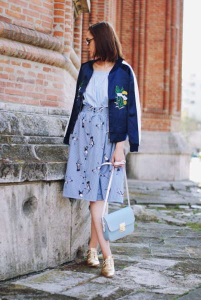 navy embroidered jacket high waisted flare skirt