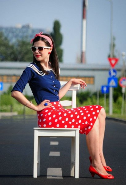 navy half sleeve shirt red pencil skirt