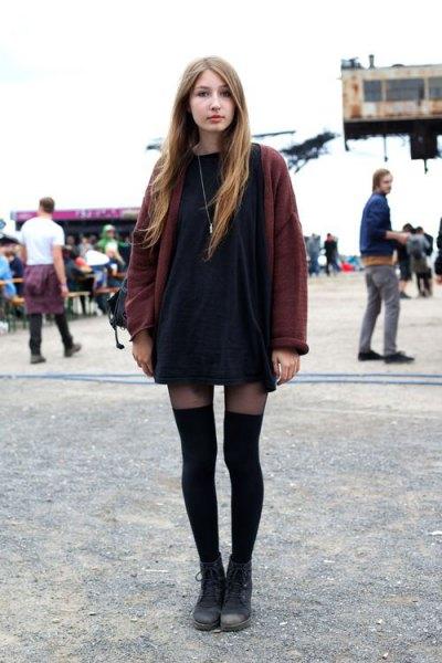 navy t shirt dress burgundy knit cardigan