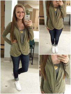 olive green draped top over grey vest top