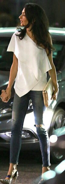 one shoulder white draped top ripped skinny jeans
