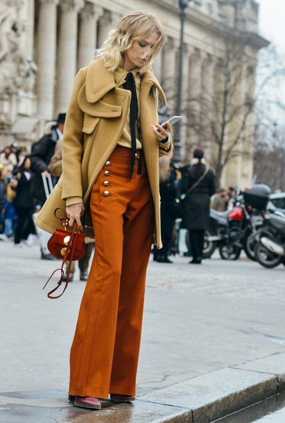 orange pants beige