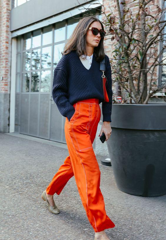 orange pants italian